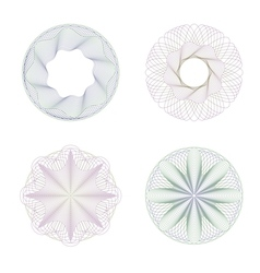Four rosettes guilloche vector