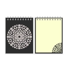Black cover notebook with round pattern vector