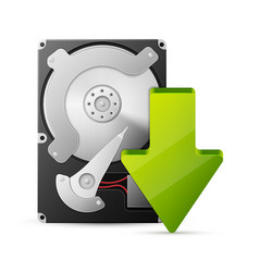 Computer download concept with hard drive disk vector