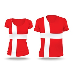 Flag shirt design of denmark vector