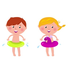 Swimming boy and girl vector