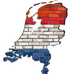 Netherlands map on a brick wall vector image