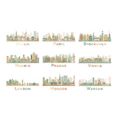 Set of 9 abstract europe city skyline vector
