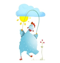 Hen jumping rope childish cartoon vector