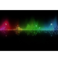 Colorful audio wave and wire mesh pattern vector