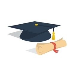 Student hat and diploma roll vector