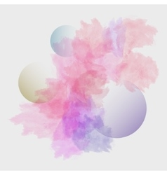 Watercolor stains with three transparent bubbles vector