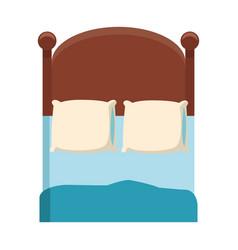 Bedroom two pillow blanket wooden image vector