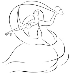 Belly dancer - black outline vector