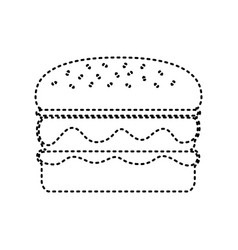 Burger simple sign black dashed icon on vector