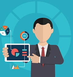 Business man pointing at chart and presentation vector