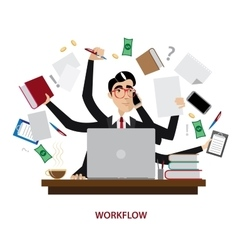 Busy businessman at workplace vector image