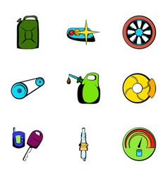 Car repairing icons set cartoon style vector