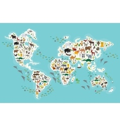 Cartoon animal world map for children and kids vector