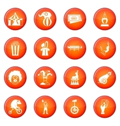 Circus entertainment icons set vector