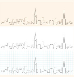 Copenhagen hand drawn skyline vector