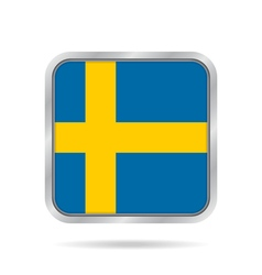 Flag of sweden shiny metallic gray square button vector