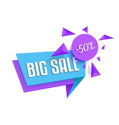 Flat bright big sale sticker tag template isolated vector