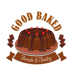 Fresh tasty dessert emblem chocolate cake icon vector