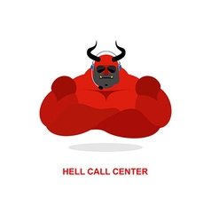 Hell call center satan with headset devil responds vector