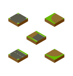 Isometric road set of downward crossroad vector