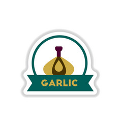 Label icon on design sticker collection garlic vector