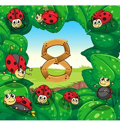 Ladybugs on leaves with number 8 vector
