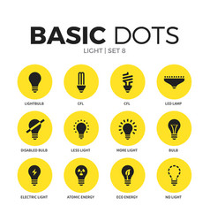 Light flat icons set vector