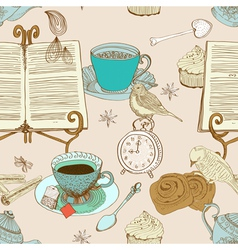 seamless morning with book vector image vector image