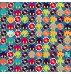 Seamless pattern with headphones and vinyl record vector