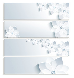 Set of horizontal banners grey with sakura vector