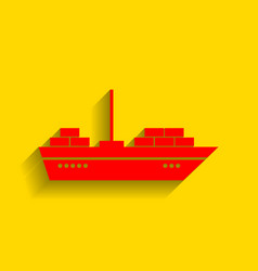 ship sign red icon with soft vector image vector image