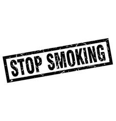 Square grunge black stop smoking stamp vector
