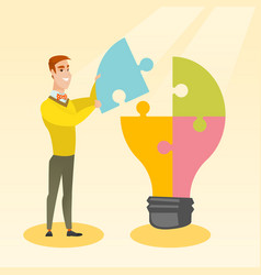 student with idea lightbulb vector image