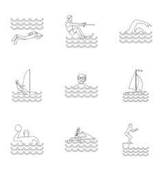 Swimming on water icons set outline style vector image vector image