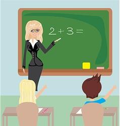 Teacher in class vector