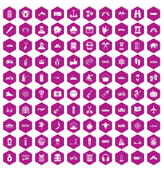 100 adventure icons hexagon violet vector