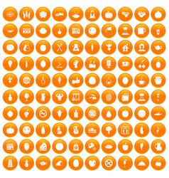 100 vegetarian cafe icons set orange vector