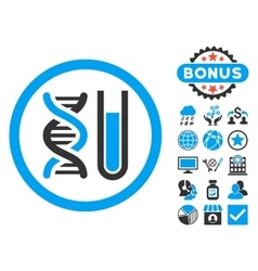 Genetic analysis flat icon with bonus vector