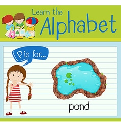 Flashcard alphabet p is for pond vector