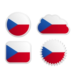 Czech republic flag labels vector