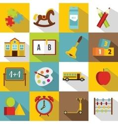 Kindergarten symbol icons set flat style vector