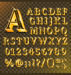 golden english alphabet on transparent background vector image