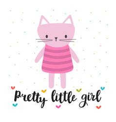 pretty little girl cute little kitty romantic vector image