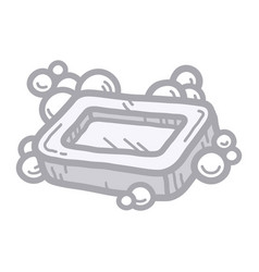 Hand holding bar of soap vector