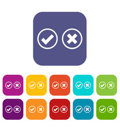 Tick and cross selection icons set vector