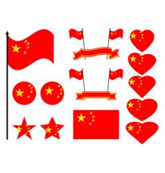 China flag set collection of symbols flag vector