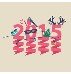 2015 New Year greeting card design vector image