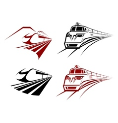 Stylized speeding train or subway icons vector