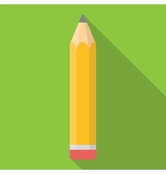 Yellow pencil flat icon with long shadow vector